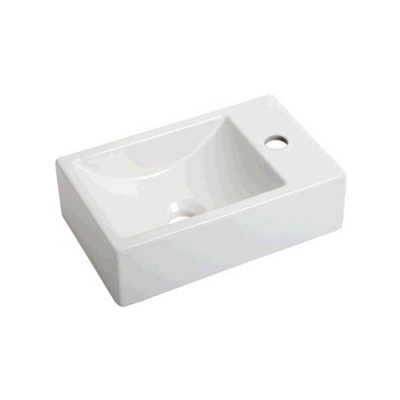 Sanitair-producten 72800 Fontein Plieger Houston Kraangat Rechts 37x23cm Mat Wit