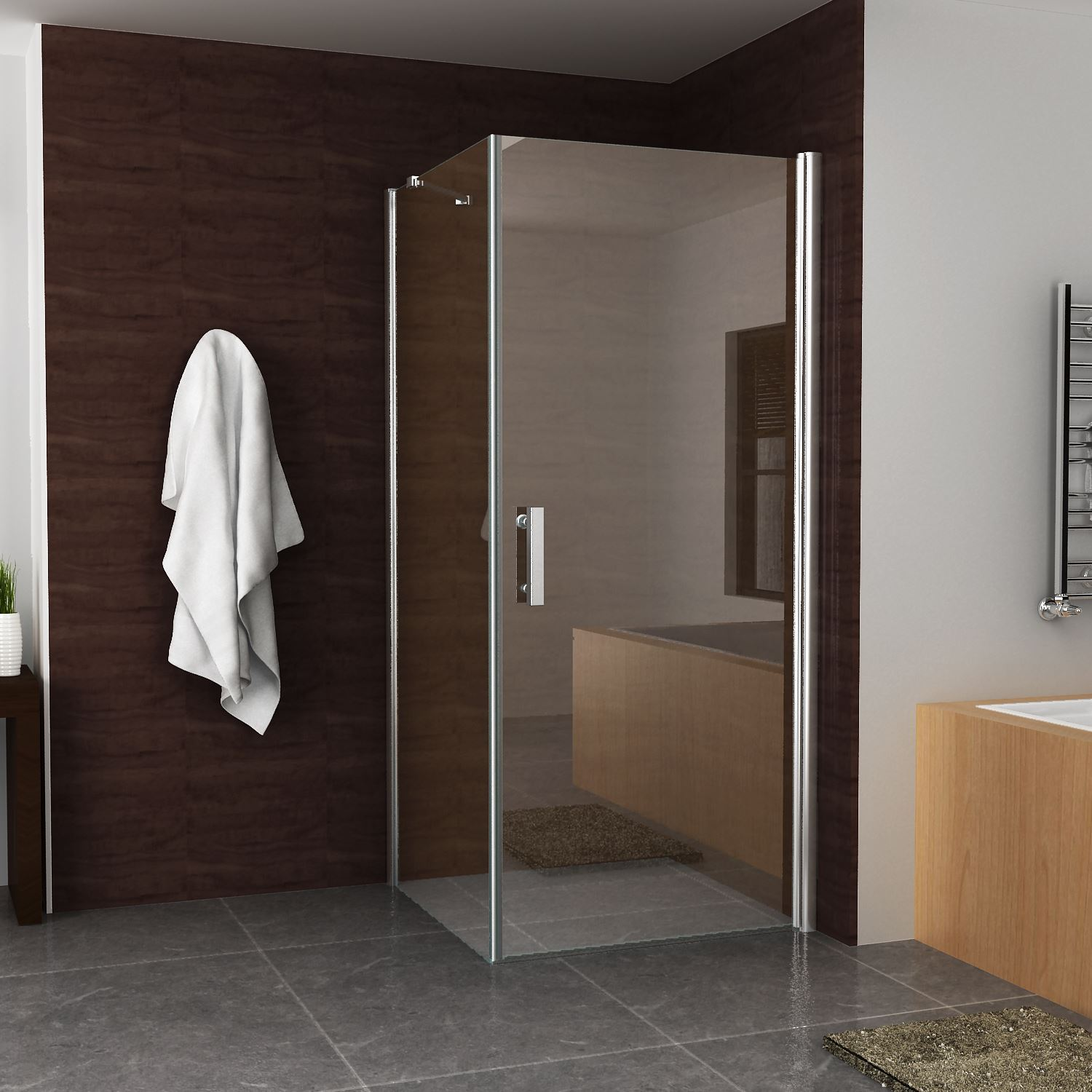 Douche 62056 Douchecabine vierkant 1 swingdeur 90x90x200cm 8mm Boss & Wessing met Nano coating