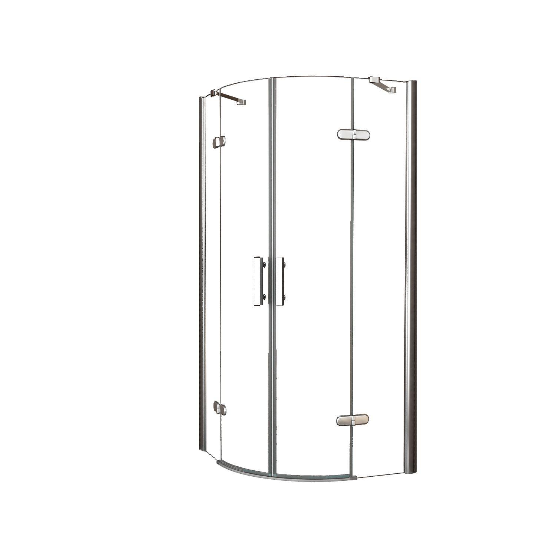 Douche 47541 Douchecabine Wiesbaden kwartrond 2 deuren 100x100cm 8mm NANO coating