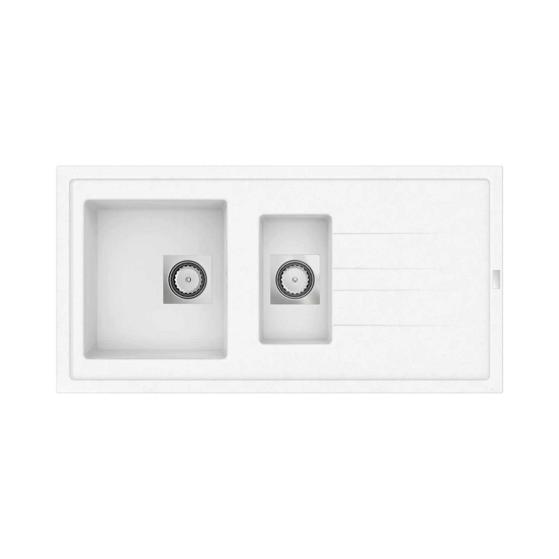 Inbouw Spoelbak Uitstortgootsteen Van Marcke Go Molto 98x50 cm Polyester Wit voordeel