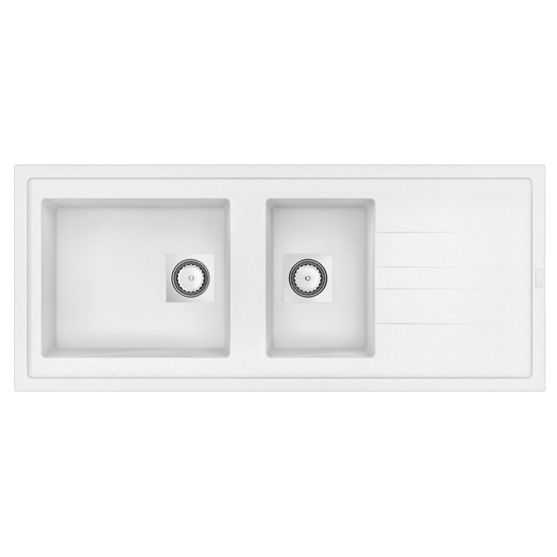 Inbouw Spoelbak Uitstortgootsteen Van Marcke Go Molto 117x50 cm Polyester Wit kopen - Tegel Depot sanitair met korting
