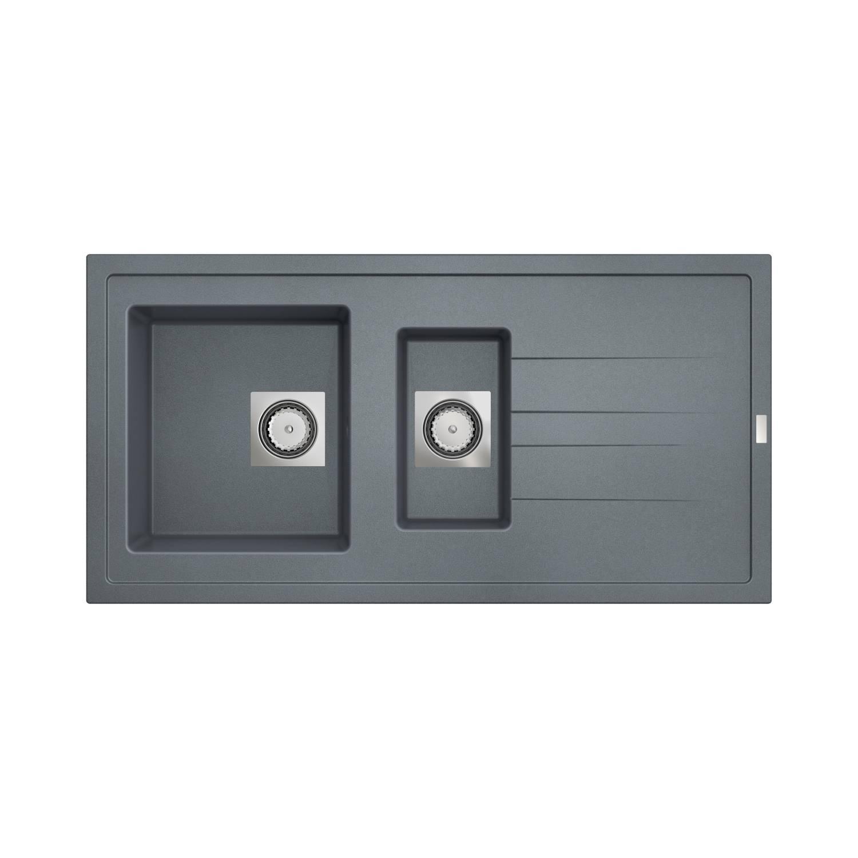 Inbouw Spoelbak Uitstortgootsteen Van Marcke Go Molto 98x50 cm Polyester Beton Grijs voordeel
