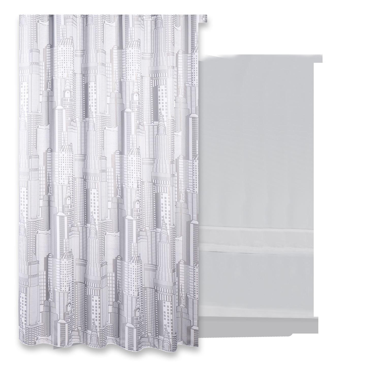 Douchegordijn Differnz Domum Polyester 180x200 cm Grijs Accessoires > Douchegordijnen > Douchegordijnen snel en voordelig in huis