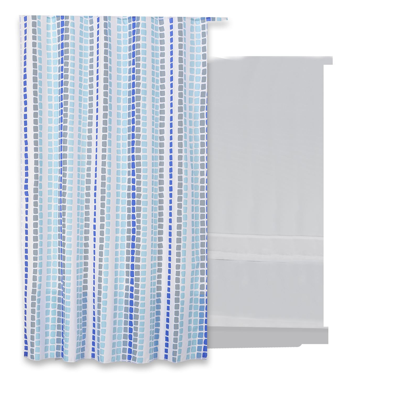 Douchegordijn Differnz Tesselo Polyester 180x200 cm Blauw Accessoires > Douchegordijnen > Douchegordijnen snel en voordelig in huis