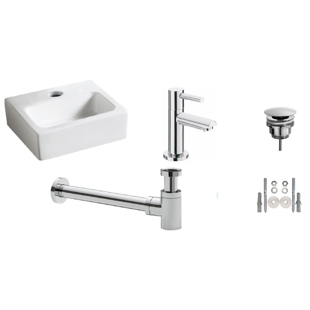 Wiesbaden one-pack Leto fontein + Amador toiletkraan chroom kopen - Tegel Depot sanitair met korting