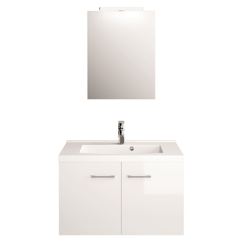 Badmeubelset Molina 60 cm Inclusief Wastafel Spiegel en Spiegellamp Hoogglans Wit