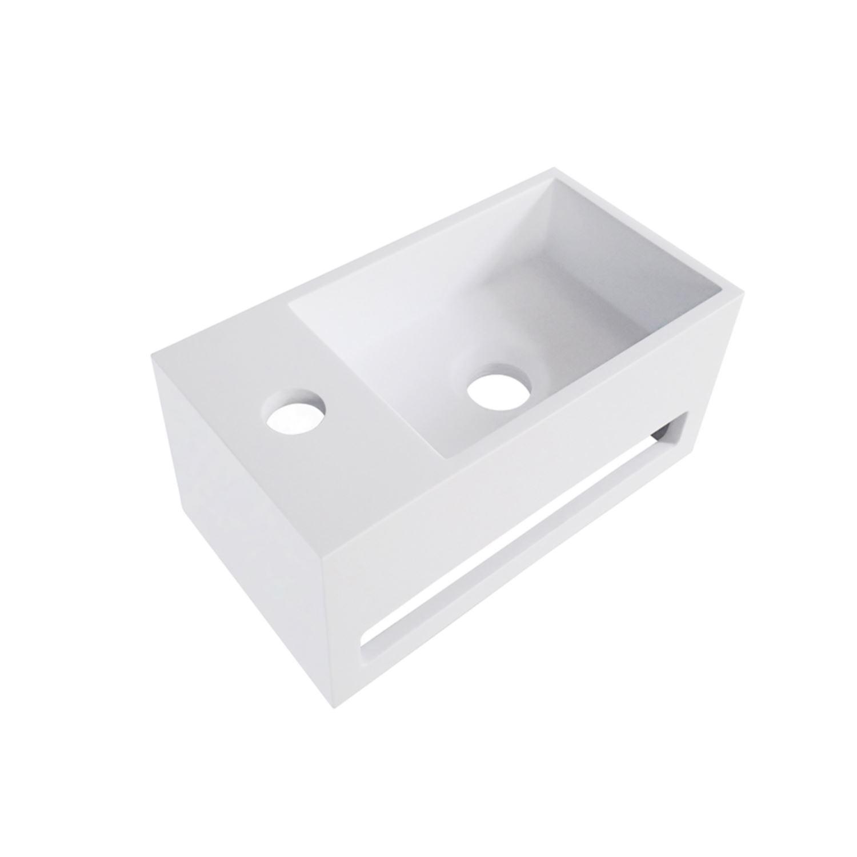 Sanitair-producten 68515 Fontein met Handdoekhouder Wiesbaden Solid Surface 35.6×20.3×15.9 cm (kraangat links of rechts)