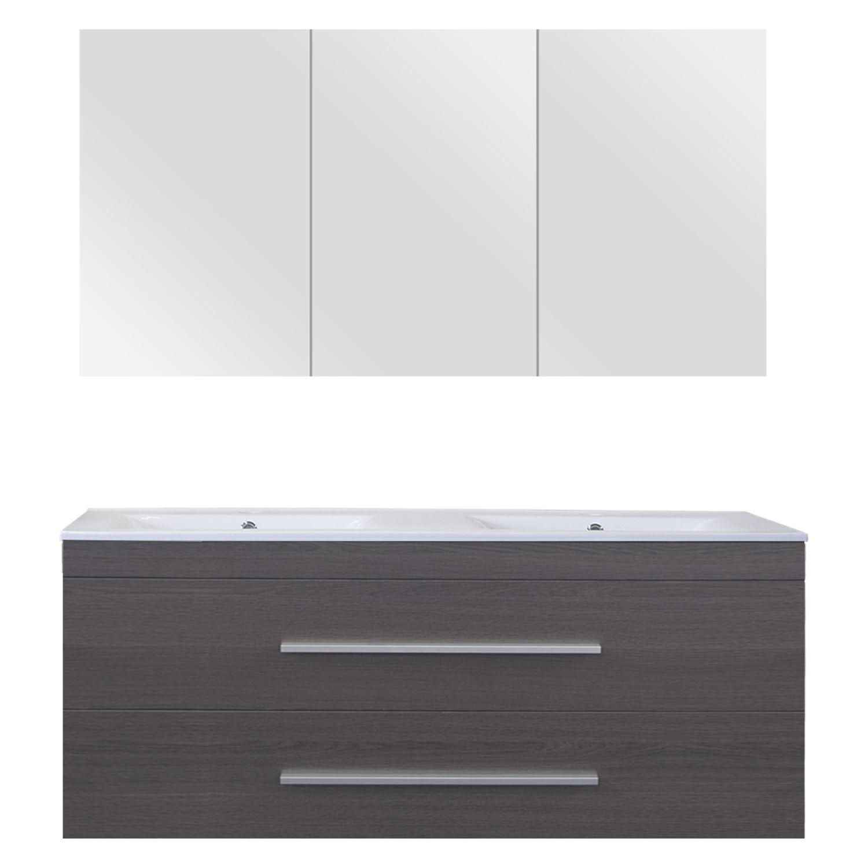 Differnz Style Badmeubelset 120cm Keramiek wastafelblad met standaard greep met spiegelkast met 2 wa