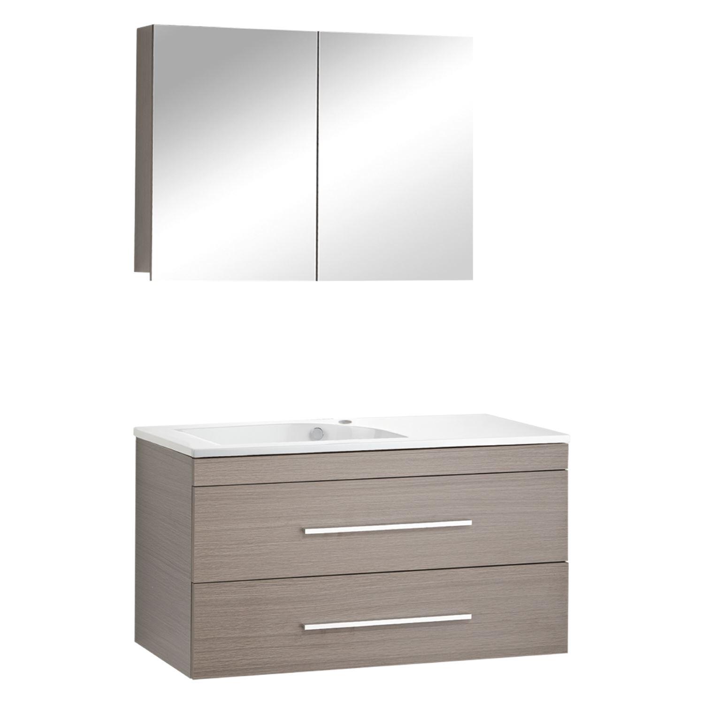 Differnz Style Badmeubelset 100cm Keramiek wastafelblad met standaard greep met spiegelkast met 1 wa
