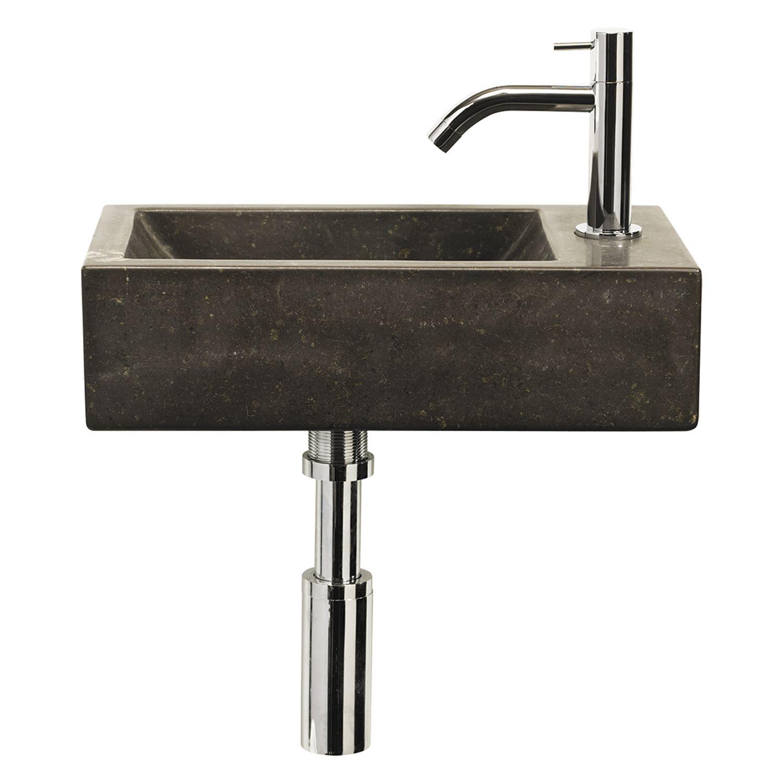 Fonteinset Differnz Patra 40x23x11 cm Bluestone Zwart Wastafels > Fontein toilet > Fonteinset snel en voordelig in huis
