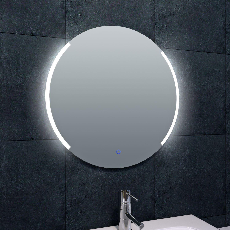 Badkamerspiegel Wiesbaden Rond 80x80cm Geintegreerde LED Verlichting Verwarming Anti Condens Touch L