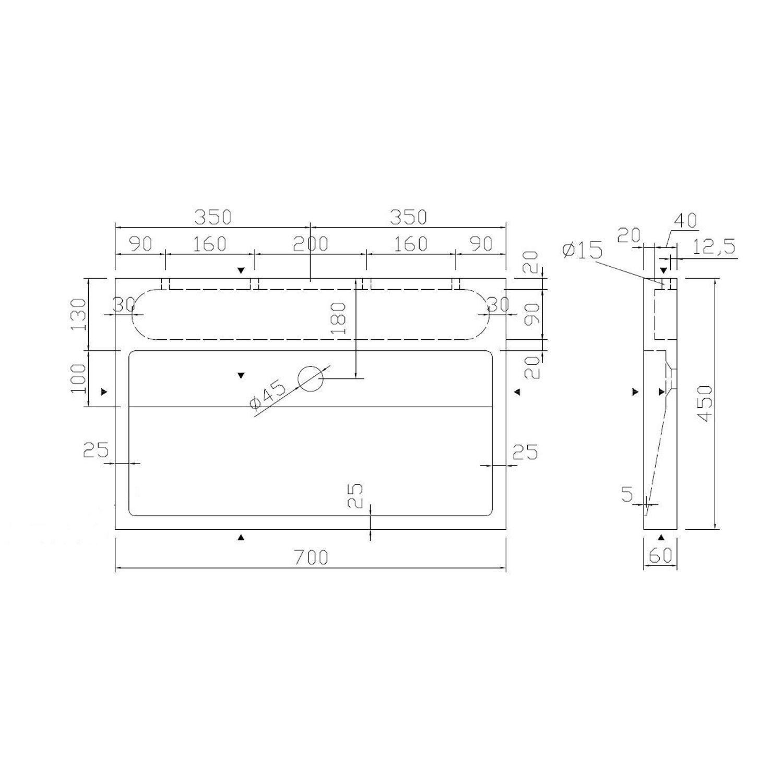 wastafel best design limestone opbouw 70x45x6 cm z krgat