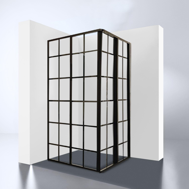 hoekinstap best design black corner 99x99x190 cm 4mm nano