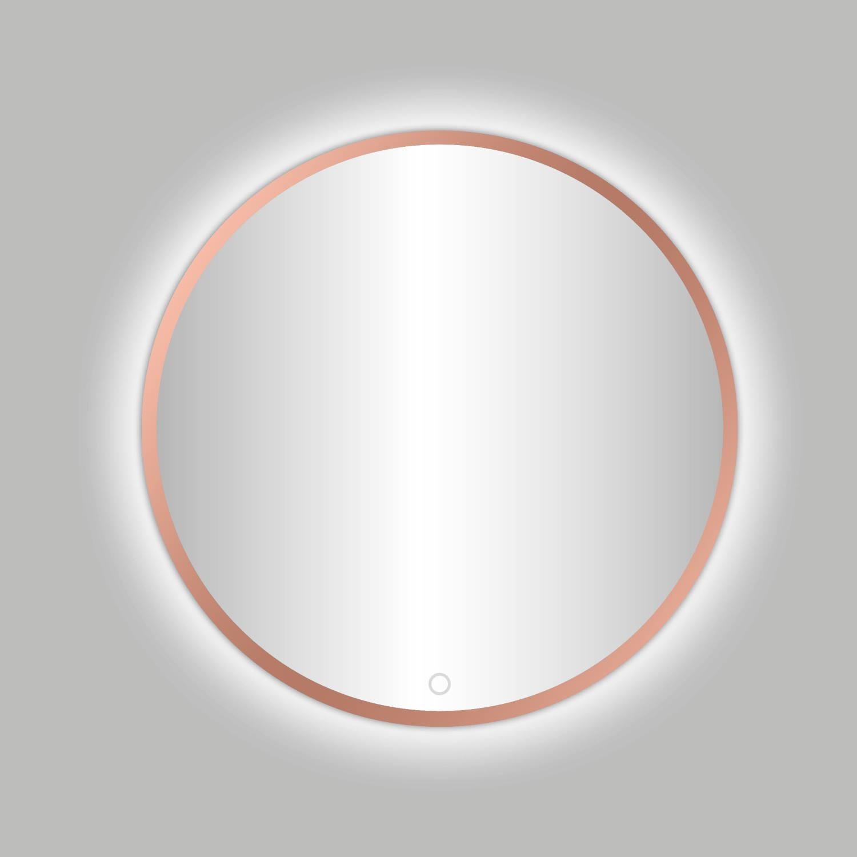 Badkamerspiegel Best Design Venetië Lyon LED Verlichting 80x80 cm Rond Mat Rose Goud