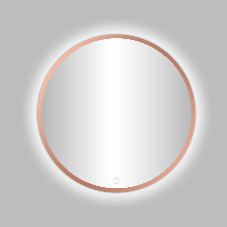 Badkamerspiegel Best Design Venetië Lyon LED Verlichting 100x100 cm Rond Mat Rose Goud
