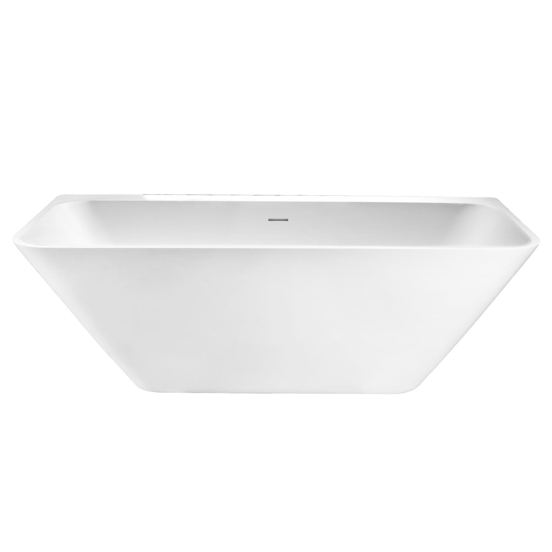 Semi-Vrijstaand Ligbad Best Design Borgh 180x85x55 cm Solid Surface Mat Wit