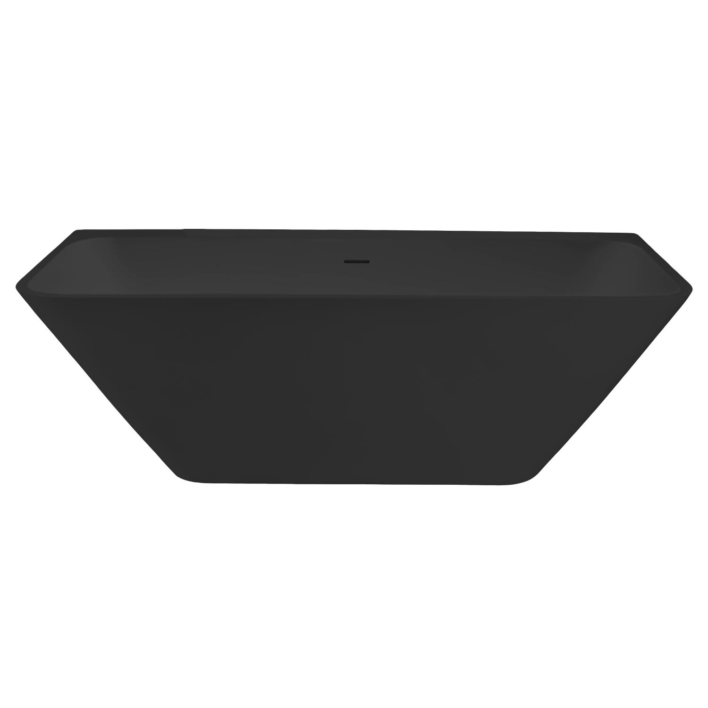 Semi-Vrijstaand Ligbad Best Design Borgh 180x85x55 cm Solid Surface Mat Zwart