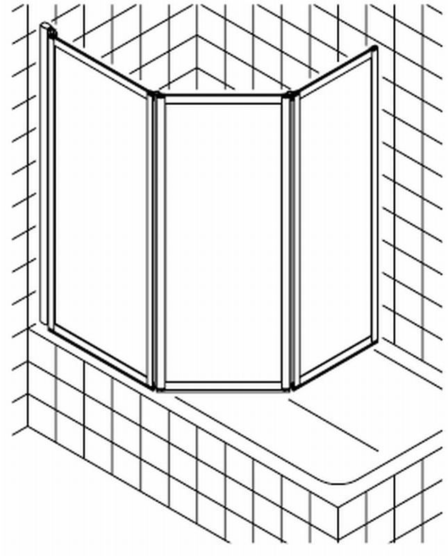 Badklapwand 3 Delig.Kermi Vario Badklapwand 3 Delig 150 Cm Kunst Parel Matzilver Kunststof Glas