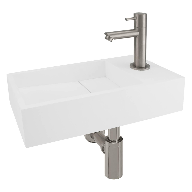 Fonteinset Differnz Rechts 36x18.5x9 cm Solid Surface Mat Wit (inclusief mat verchroomde kraan sifon en afvoer) voordeel