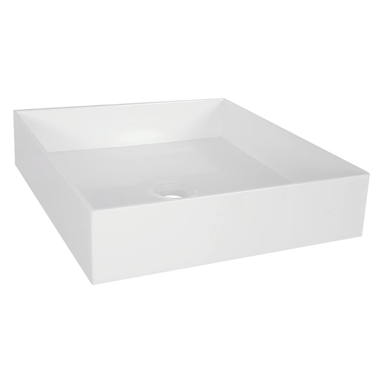 Opbouw Waskom Differnz Jura 42x42x10 cm Polybeton Wit voordeel