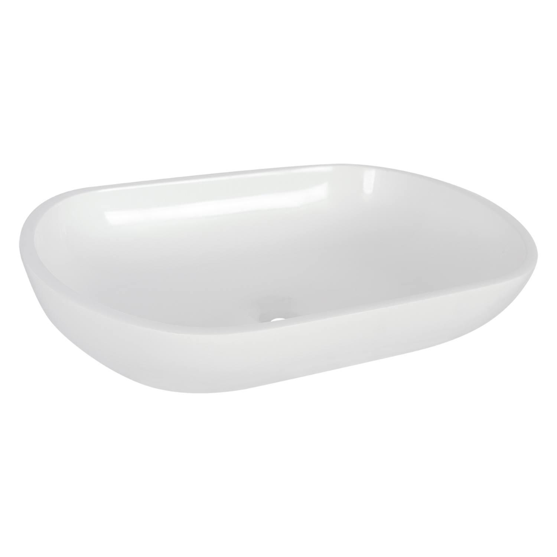 Opbouw Waskom Differnz Ovalo 54x34x12 cm Polybeton Wit voordeel