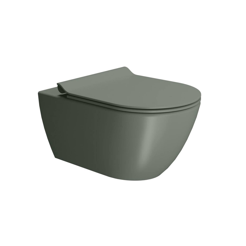 Toilet Wandcloset Sapho Pura Swirlflush Hangend 55x36 cm Mat Legergroen (excl. zitting) te koop met veel voordeel