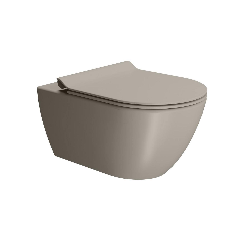 Toilet Wandcloset Sapho Pura Swirlflush Hangend 55x36 cm Mat Bruin (excl. zitting) te koop met veel voordeel
