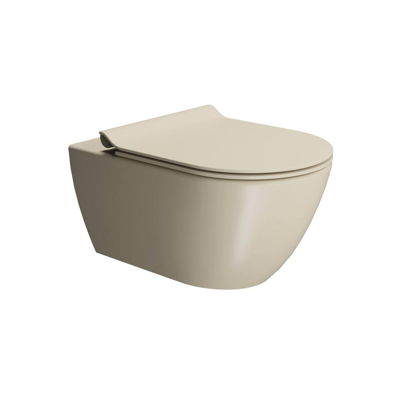 Toilet Wandcloset Sapho Pura Swirlflush Hangend 55x36 cm Mat Beige (excl. zitting) te koop met veel voordeel