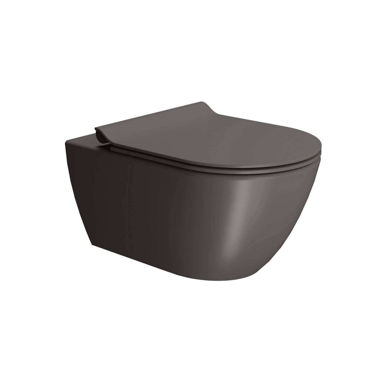 Toilet Wandcloset Sapho Pura Swirlflush Hangend 55x36 cm Mat Donkerbruin (excl. zitting) te koop met veel voordeel