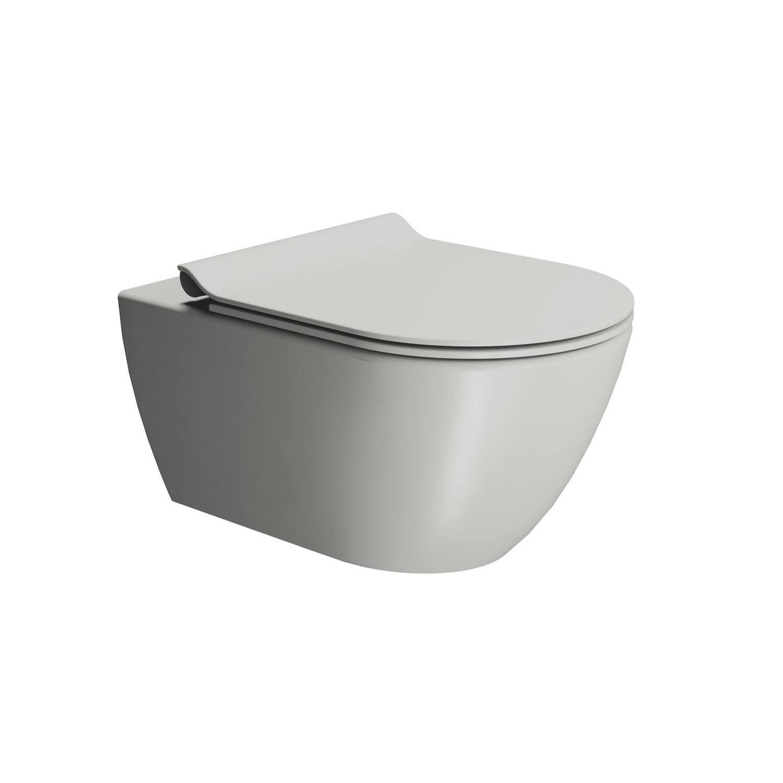 Toilet Wandcloset Sapho Pura Swirlflush Hangend 55x36 cm Mat Grijs (excl. zitting) te koop met veel voordeel