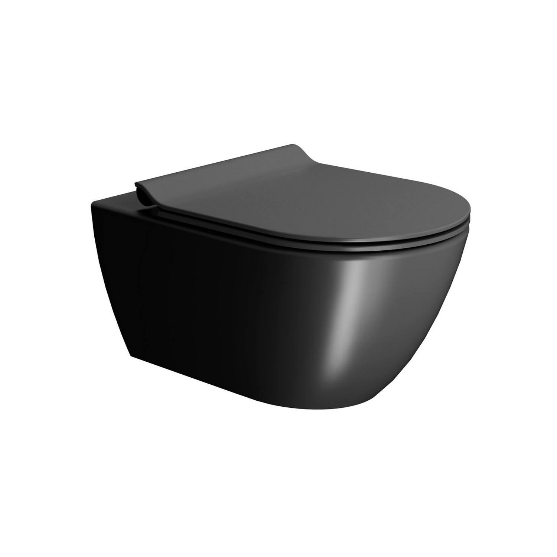 Toilet Wandcloset Sapho Pura Swirlflush Hangend 55x36 cm Mat Zwart (excl. zitting) te koop met veel voordeel