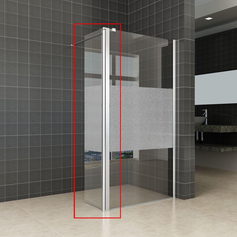 Sanitair-producten 69633 Zijwand Wiesbaden voor Inloopdouche met Rechts Scharnierend Profiel en Schaamband 35x200 cm 10 mm NANO Glas