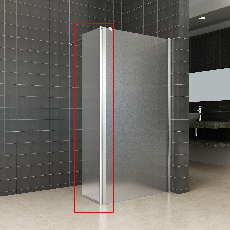 Zijwand Wiesbaden voor Inloopdouche met Rechts Scharnierend Profiel 35×200 cm 10 mm NANO Geheel Mat Glas