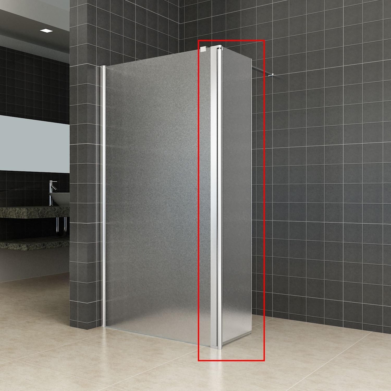 Zijwand Wiesbaden voor Inloopdouche met Links Scharnierend Profiel 35×200 cm 10 mm NANO Geheel Mat Glas