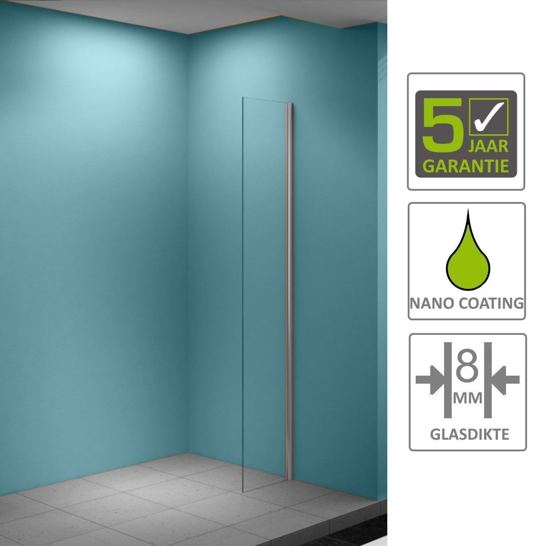 Sanitair-producten 67163 BWS Eco Zijwand met Muurprofiel 40x200cm NANO Coating 8mm