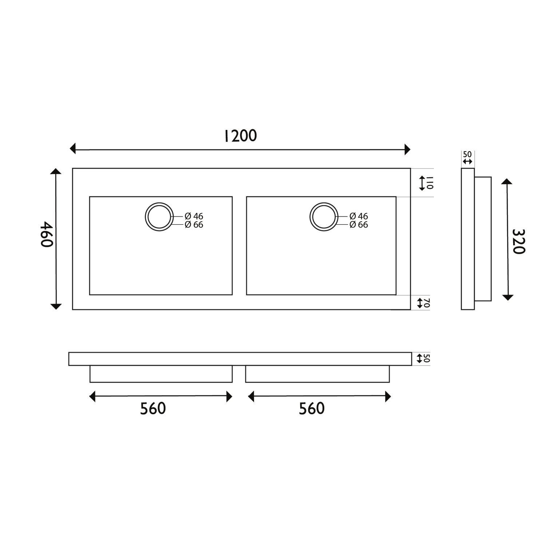 wastafel natuursteen wiesbaden dubbel 120x46x5 cm 2 kraangaten