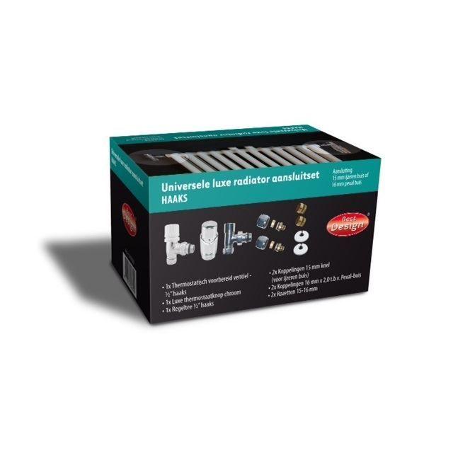 Sanitair-producten 5475 Radiator Aansluitset Wiesbaden Haaks Chroom ( Voor zij-aansluiting)