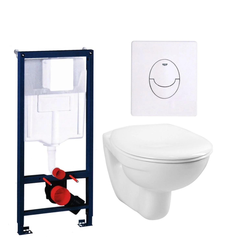 aktie toiletset grohe rapid sl met basic smart pot en skate air drukplaat. Black Bedroom Furniture Sets. Home Design Ideas
