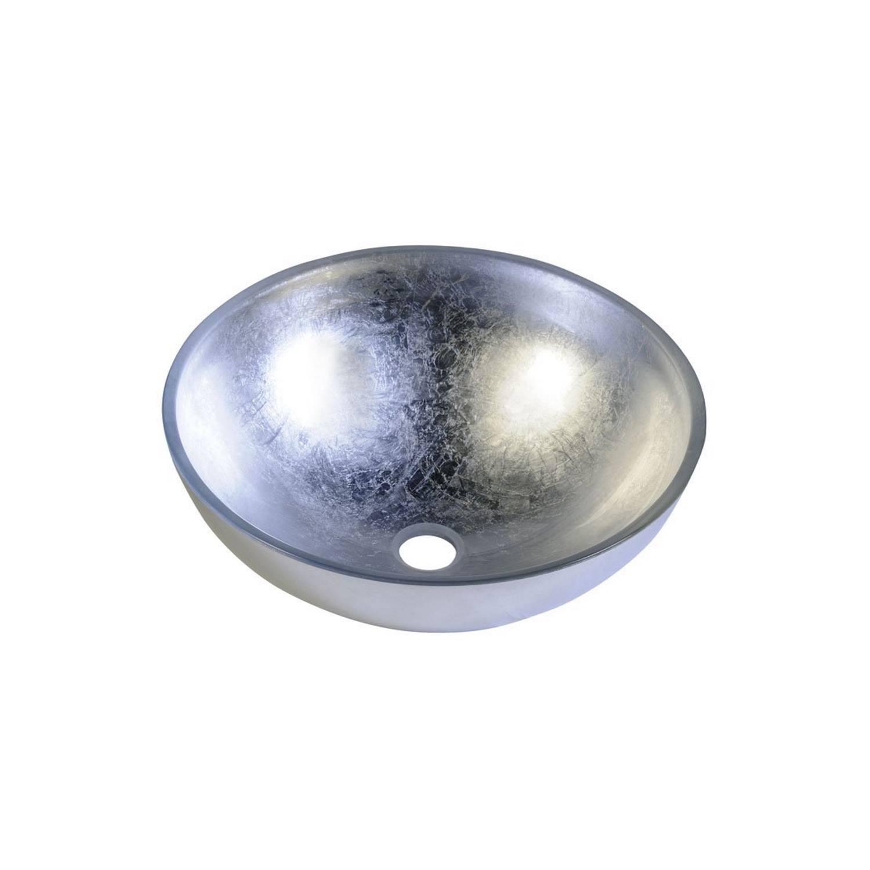 Badkamer Waskom Sapho Murano Argento Rond 40x14 cm Glas Metallic Zilver