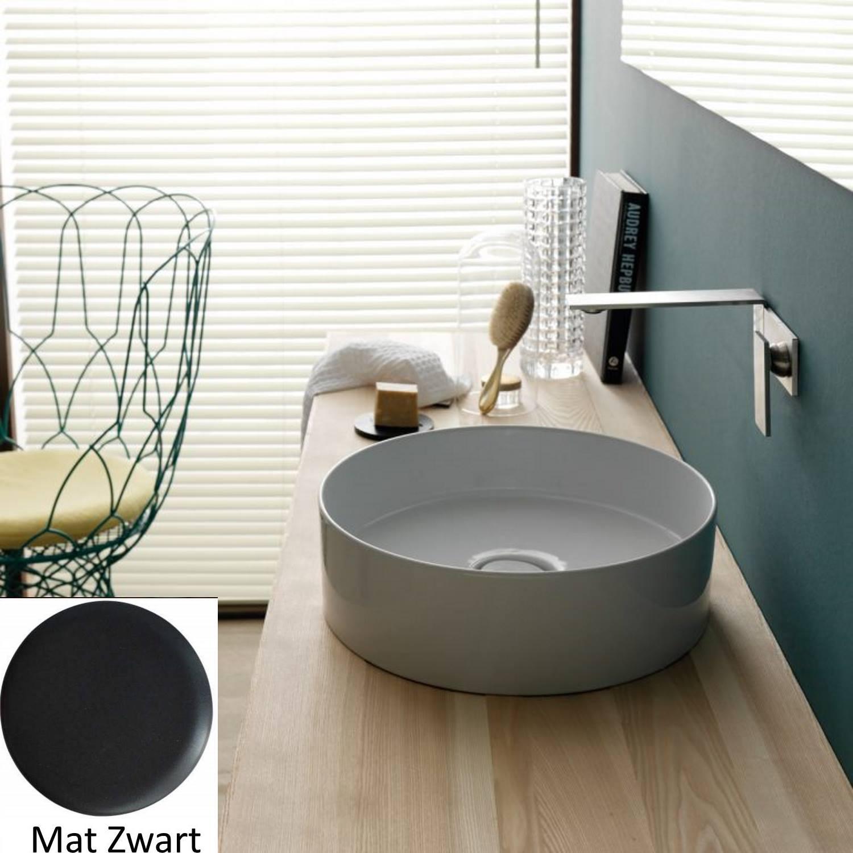 Opbouw Wastafel Salenzi Hide Circle 40×12 cm Mat Zwart (inclusief bijpassende clickwaste)