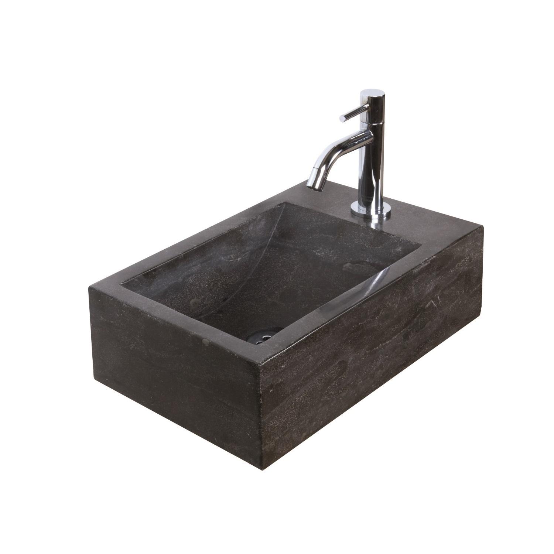 Fonteinset Natuursteen Nera 40x23x11 cm (kraangat rechts) kopen - Tegel Depot sanitair met korting
