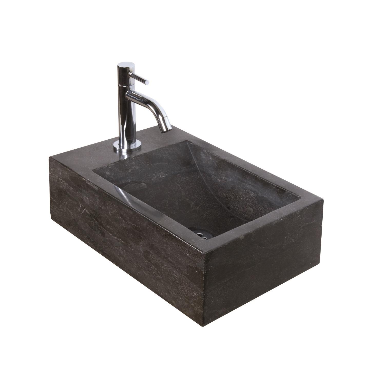 Fonteinset Natuursteen Nera 40x23x11 cm (kraangat links) kopen - Tegel Depot sanitair met korting