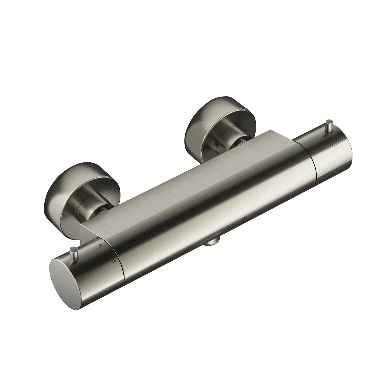 Douchethermostaat Hotbath Cobber Onderaansluiting 2-knop Geborsteld Nikkel