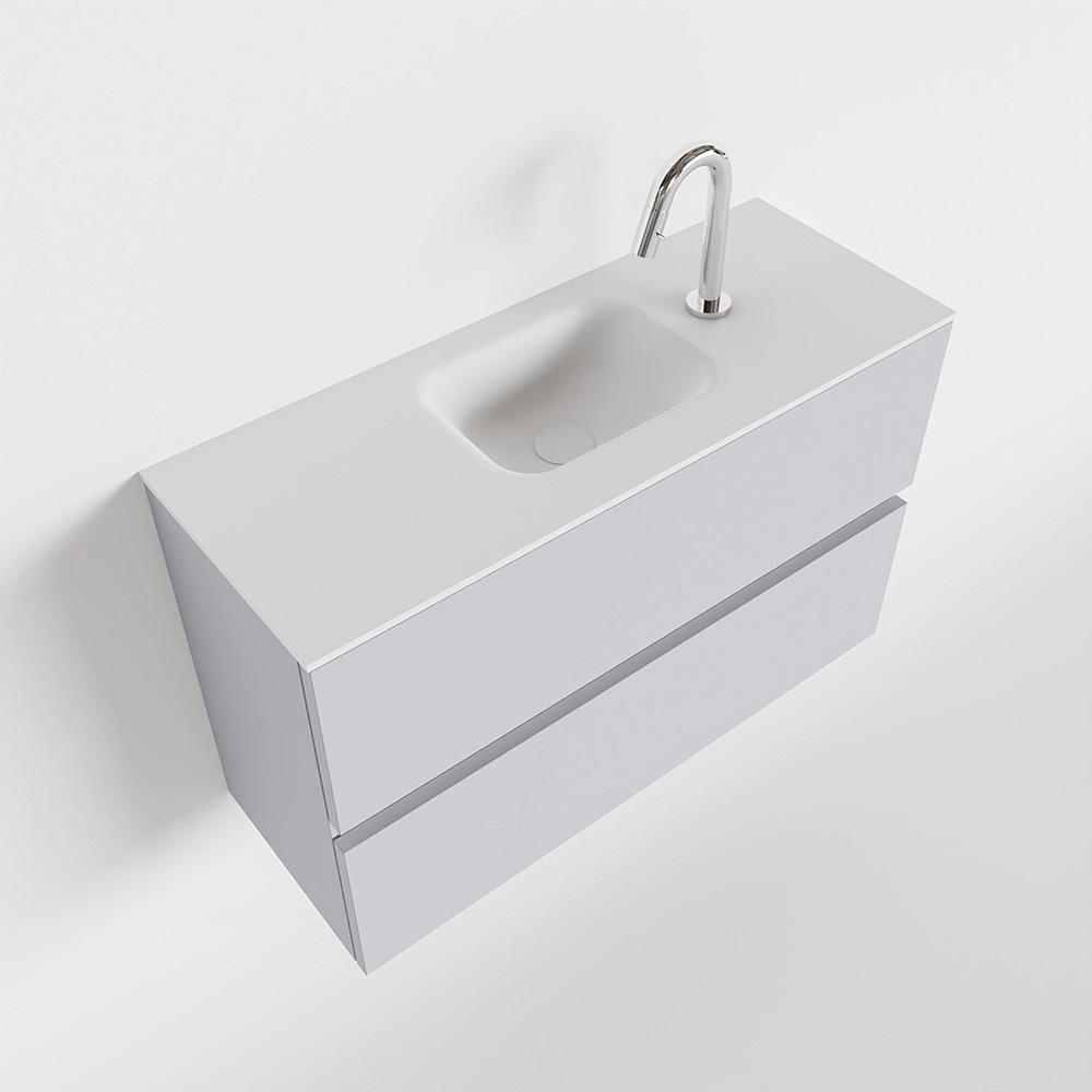 Productafbeelding van MONDIAZ ADA 80cm toiletmeubel cale. LEX wastafel talc midden 1 kraangat