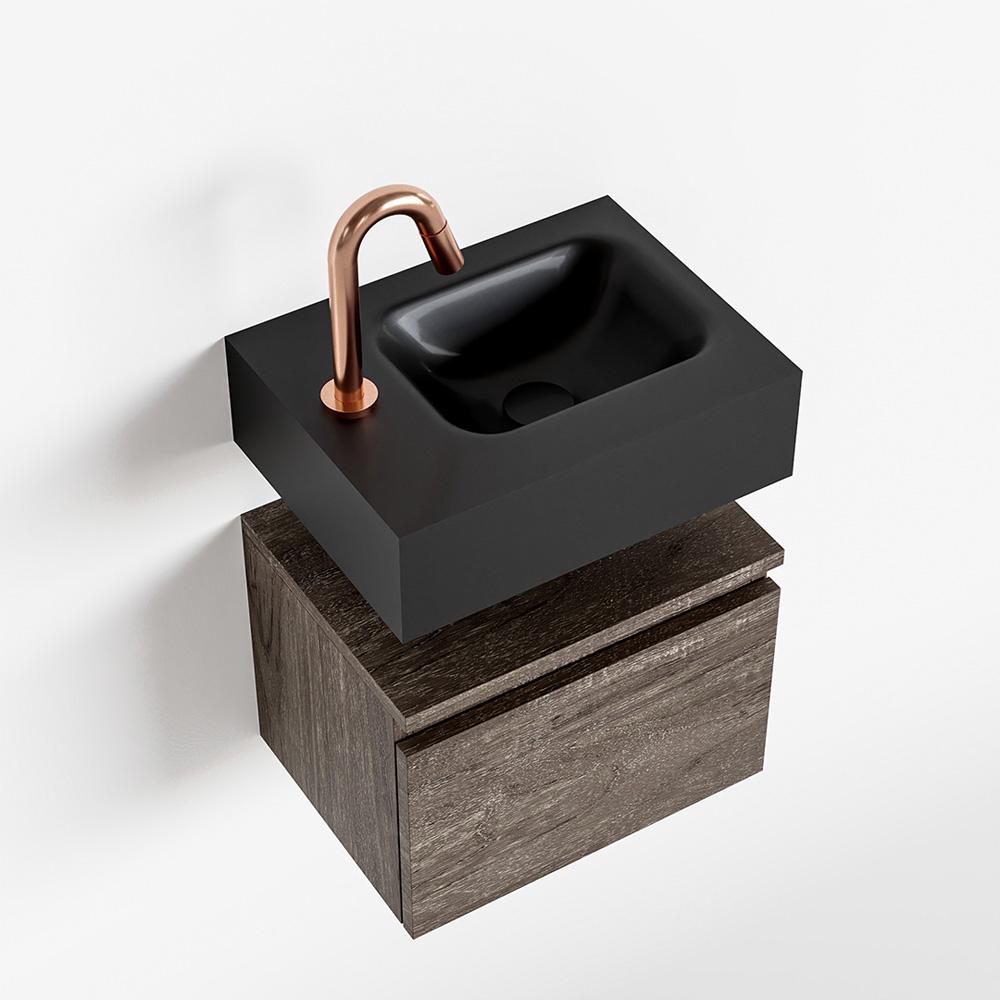 Productafbeelding van MONDIAZ ANDOR 40cm toiletmeubel dark brown. LEX 40cm wastafel urban rechts 1 kraangat