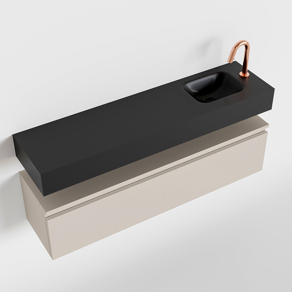Productafbeelding van MONDIAZ ANDOR 120cm toiletmeubel linen. LEX 120cm wastafel urban rechts 1 kraangat