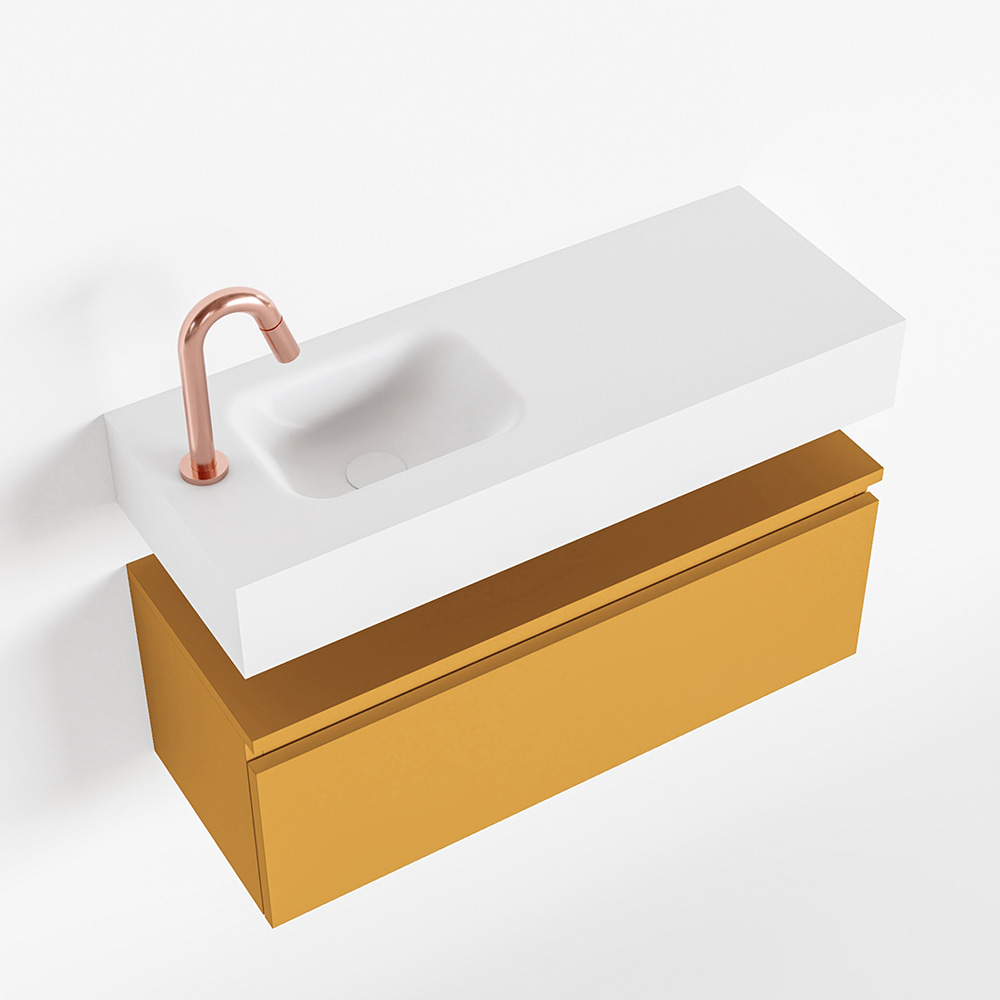 Productafbeelding van MONDIAZ ANDOR 80cm toiletmeubel ocher. LEX 80cm wastafel talc links 1 kraangat