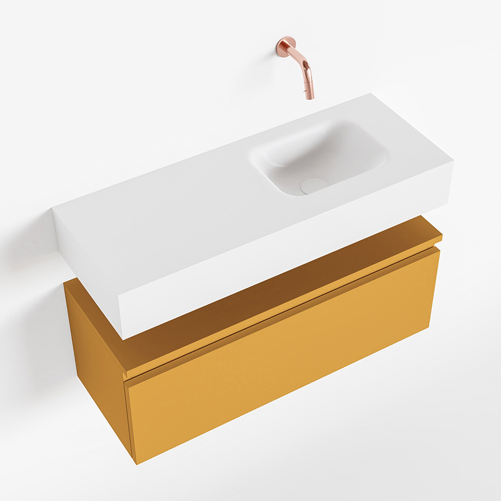 Productafbeelding van MONDIAZ ANDOR 80cm toiletmeubel ocher. LEX 80cm wastafel talc rechts geen kraangat