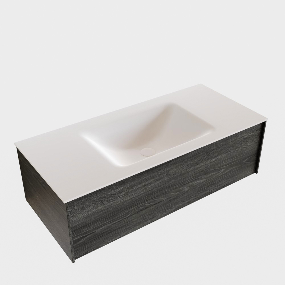 Badkamermeubel BWS Madrid Antraciet 100x45x30 cm Mat Witte Solid Surface Wastafel (1 kraangat)