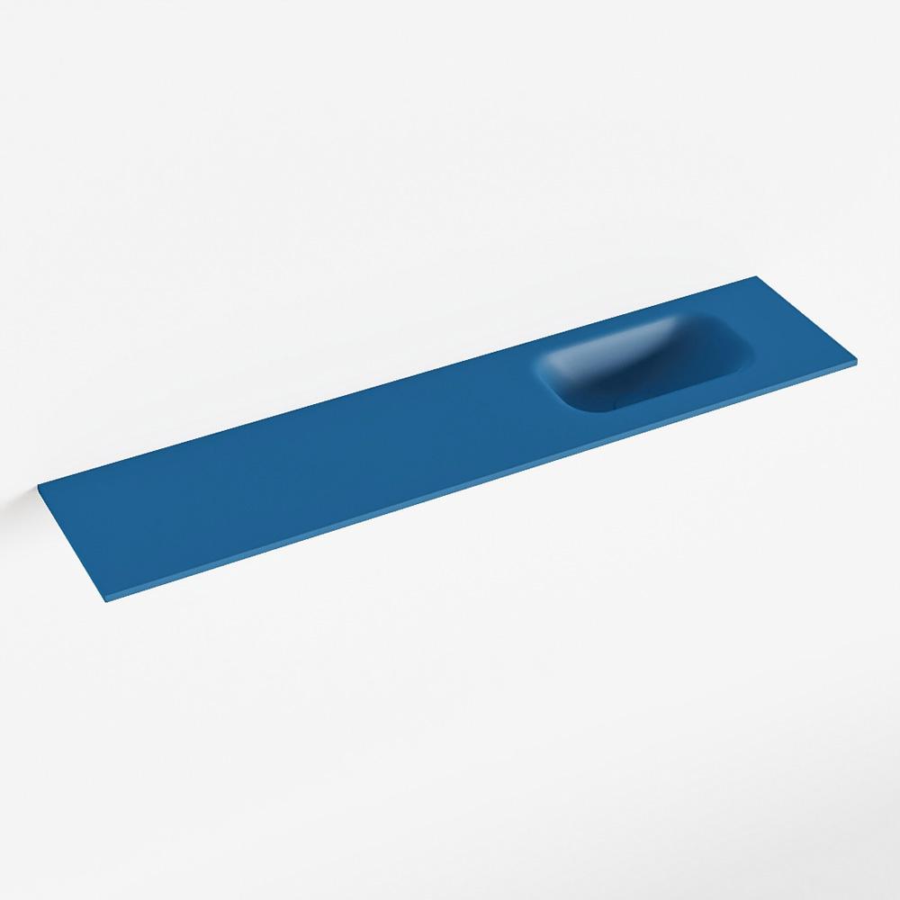 Productafbeelding van MONDIAZ EDEN Jeans solid surface inleg wastafel voor toiletmeubel 100cm. Positie wasbak rechts